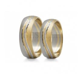 Cieszące się popularnością obrączki ślubne z białego i żółtego złota z delikatnym zdobieniem