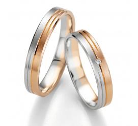 Wąskie obrączki ślubne Breuning z dwóch kolorów złota - białego i czerwonego