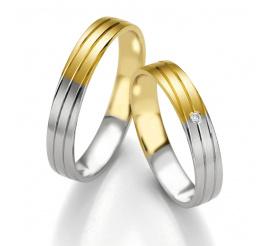 Zachwycająca para obrączek ślubnych Breuning - dwukolorowe złoto pr. 585 i najprawdziwszy brylant
