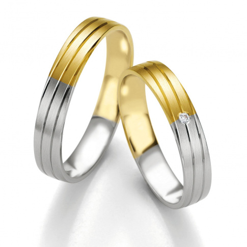 Zachwycająca para obrączek ślubnych Breuning - dwukolorowe złoto i najprawdziwszy brylant