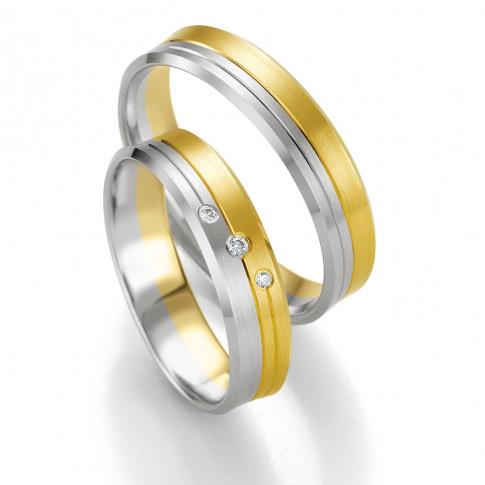 Dwukolorowe obrączki ślubne z brylantami z kolekcji SMART LINE - białe i żółte złoto