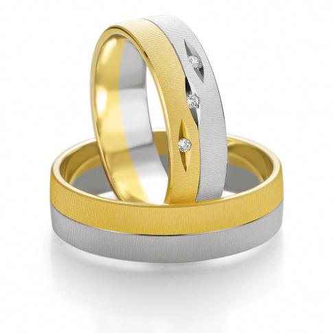 Solidne obrączki ślubne z dwóch kolorów złota z trzema oprawionymi brylantami