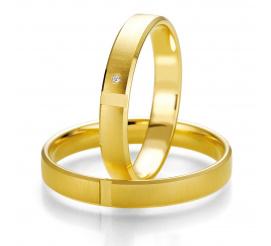 Eleganckie, wąskie obrączki ślubne Breuning z żółtego złota z lśniącym kamieniem - najprawdziwszym brylantem