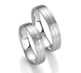 Kolekcja SMART LINE Breuning - solidny komplet obrączek ślubnych z delikatnymi liniami i brylantami