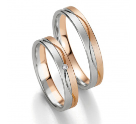 Komplet dwukolorowych obrączek ślubnych Breuning z białego i czerwonego złota