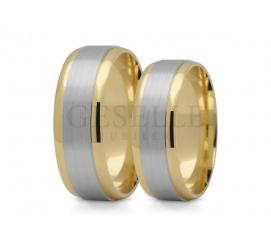 Para obrączek ślubnych z dwukolorowego złota próby 585 14K, tradycyjny wzór
