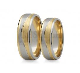 Efektowne dwubarwne obrączki do ślubu z 14 karatowego złota z fantazjną falą
