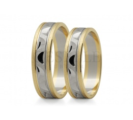 Dwubarwne nowoczesne obrączki ślubne z złota przyozdobione diamentowanym wzorem