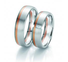 Czarujący duet obrączek ślubnych Breuning z wiecznym brylantem i dwoma kolorami złota próby 585