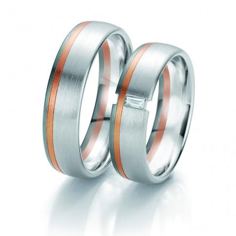Czarujący duet obrączek ślubnych Breuning z wiecznym brylantem i dwoma kolorami złota