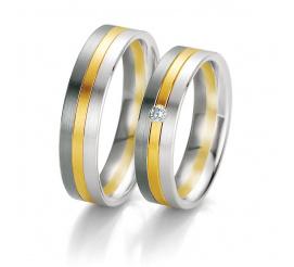 Stylowe obrączki ślubne z dwóch kolorów złota z kolekcji BLACK&WHITE z wiecznym brylantem