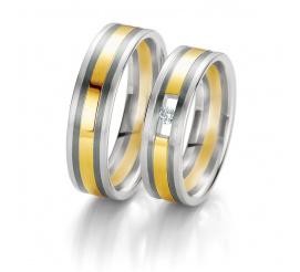 Eleganckie dwukolorowe obrączki ślubne Breuning z białego i żółtego złota próby 585 z lśniącym brylantem