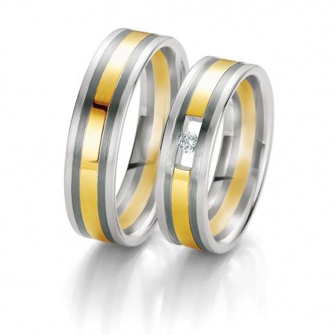 Eleganckie dwukolorowe obrączki ślubne Breuning z białego i żółtego złota z lśniącym brylantem