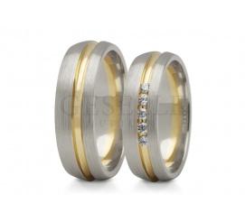 Półokrągłe obrączki ślubne z białego satynowanego złota z kanałem z żółtego błyszczącego kruszcu z pięcioma cyrkoniami