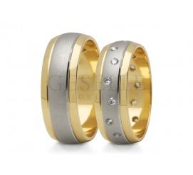 Urzekający komplet półokrągłych obrączek ślubnych ze złota 14K z błyszczącymi brzegami z żółtego złota i matowym środkiem z białego kruszcu z 16 lśniącymi cyrkoniami
