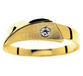 Oryginalny, złoty pierścionek z kolekcji GESELLE Jubiler: niebanalne wykończenie i brylant o masie 0.05 ct
