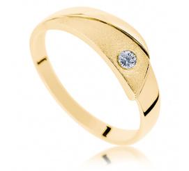 Oryginalny, złoty pierścionek - niebanalne wykończenie i brylant o masie 0.05 ct