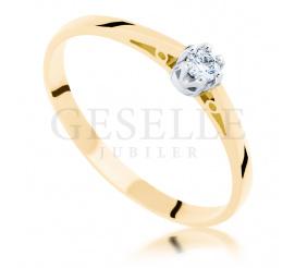 Uroczy pierścionek zaręczynowy z żółtego złota pr. 585, z brylantem 0.10 ct : klasyczna forma i ponadczasowa elegancja od GESELLE Jubiler