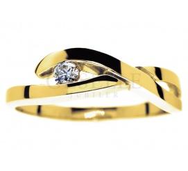 Fantazyjny, złoty pierścionek próby 585 z brylantem o masie 0,08 ct