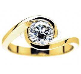 Ekskluzywny pierścionek zaręczynowy ze złota z imponującym brylantem 1 karat