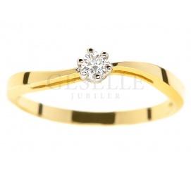 Klasyczny pierścionek zaręczynowy - fala z żółtego złota z brylantem 0.10 ct