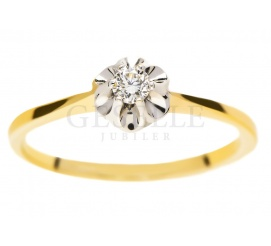 Okazały pierścionek zaręczynowy z żółtego złota pr. 585 z brylantem o masie 0.07 ct w efektownej koronie
