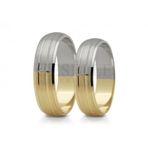 Niebanalny komplet obrączek ślubnych - połączenie białego i żółtego złota