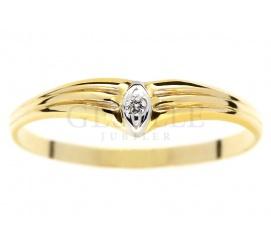 Subtelny pierścionek z żółtego złota pr. 585 z brylantem 0.01 ct - idealny na oświadczyny