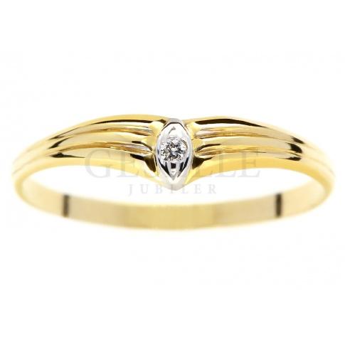 Subtelny pierścionek z żółtego złota z brylantem 0.01 ct - idealny na oświadczyny
