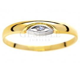 Delikatny, złoty pierścionek z białym brylantem 0,01 ct - subtelny podarunek dla ukochanej od GESELLE Jubiler