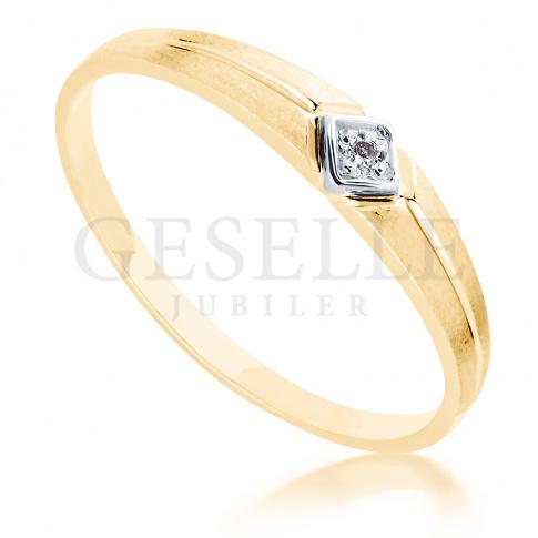 Uroczy, złoty pierścionek z brylantem 0.01 ct - subtelny wzór