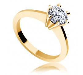 Elegancki, złoty pierścionek zaręczynowy z brylantem 0.70 ct