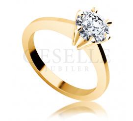Luksusowy brylant 1.00 ct i żółte złoto - pierścionek zaręczynowy
