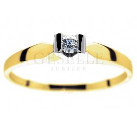 Złoty pierścionek zaręczynowy z rodowaną koroną i brylantem 0,06 ct