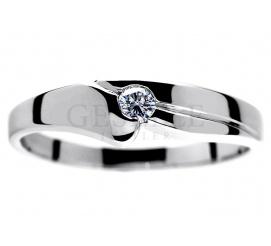 Wyjątkowy pierścionek zaręczynowy z białego złota z brylantem 0,09 ct