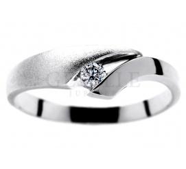Delikatny pierścionek zaręczynowy z 14-karatowego, białego kruszcu z wiecznym brylantem