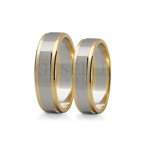 Nowoczesne, złote obrączki ślubne w oryginalnej formie