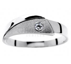 Fantazyjny pierścionek z białego kruszcu pr. 585 z brylantem 0,05 ct