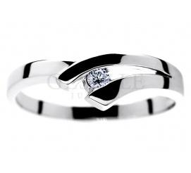 Oryginalny pierścionek zaręczynowy z 14-karatowego białego złota z wiecznym brylantem o masie 0.05 ct