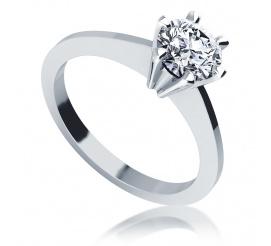Luksusowy pierścionek zaręczynowy z kolekcji klasycznej: białe złoto i brylant 0.70 ct