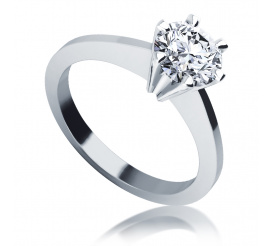 Luksusowy pierścionek zaręczynowy z białego złota z brylantem o masie 1,00 ct