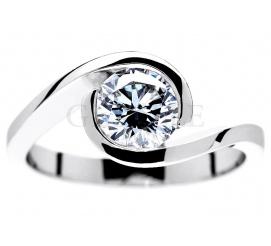 Luksusowy brylant 1,00 ct i białe złoto - pierścionek zaręczynowy z jednym karatem