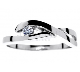 Zaręczyny w fantazyjnym stylu! - pierścionek z białego kruszcu z lśniącym brylantem 0,08 ct