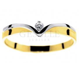 Oryginalny dwukolorowy pierścionek zaręczynowy z brylantem 0.06 ct w kształcie diademu