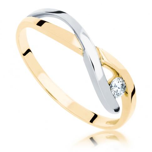 Modny, niebanalny pierścionek zaręczynowy - białe i żółte złoto oraz brylant o masie 0.08 ct