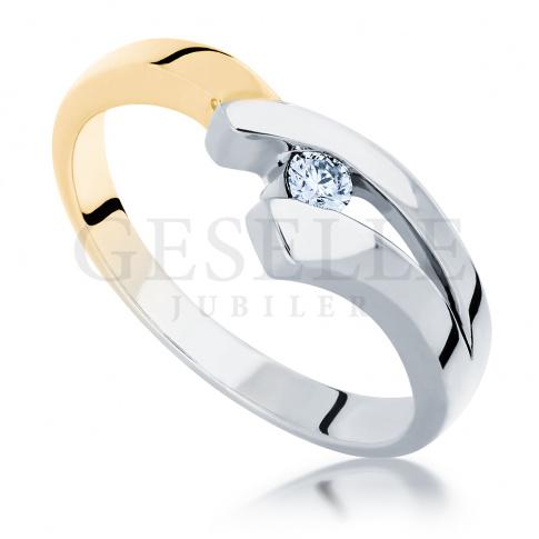 Ciekawy pierścionek z białego i żółtego złota z brylantem 0.05 ct - modny wzór na oświadczyny
