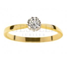 Złoty pierścionek zaręczynowy z brylantem 0,12 ct i oprawą w kształcie motyla