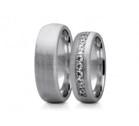 Eleganckie obrączki z białego kruszcu z mieniącymi się kryształami Swarovski ELEMENTS
