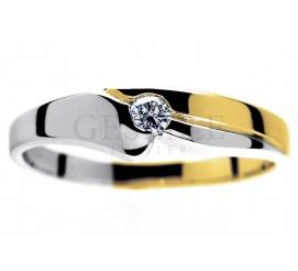 Dwukolorowy, złoty pierścionek zaręczynowy z brylantem 0,09 ct