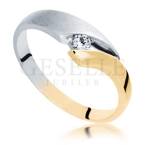 Pierścionek zaręczynowy z żółtego i białego złota z brylantem o masie 0.07 ct